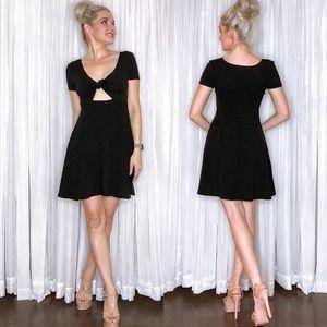 Black Tie Top Skater Mini Dress